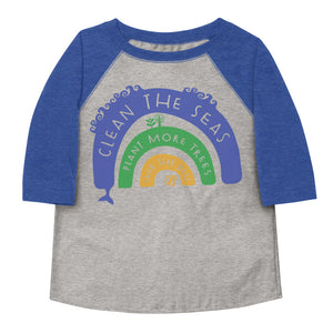 Clean The Seas, Plant More Trees, Save The Bees Toddler Baseball Tee