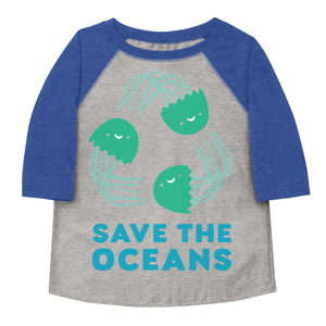 Save The Oceans Toddler Baseball Tee