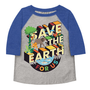 Save The Earth For Us Toddler Baseball Tee