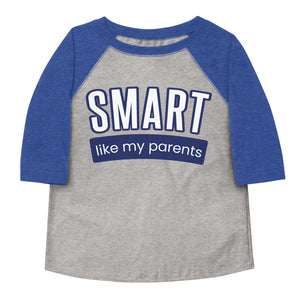 Smart Like My Parents Toddler Baseball Tee