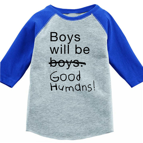 NEW! Boys Will Be Good Humans Kids Baseball Tee