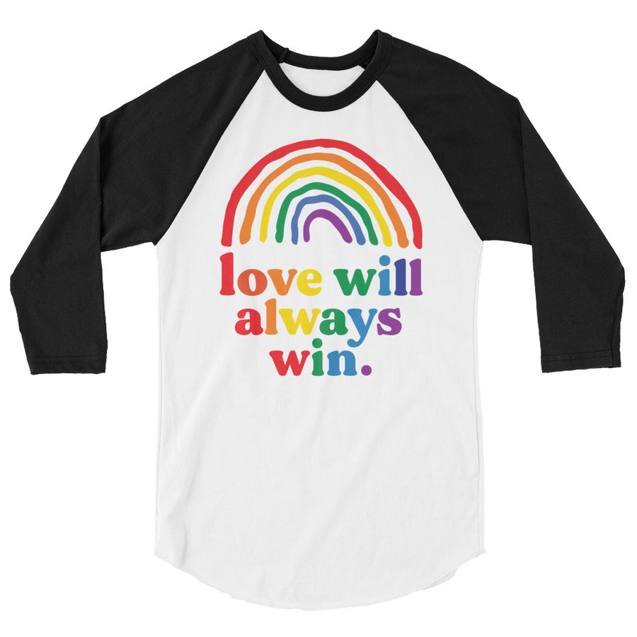 Love Will Always Win Rainbow Pride Flag Teen/Grownup Baseball Tee