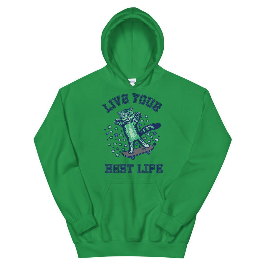 Live Your Best Life Skate Kitty Teen/Grownup Hoodie