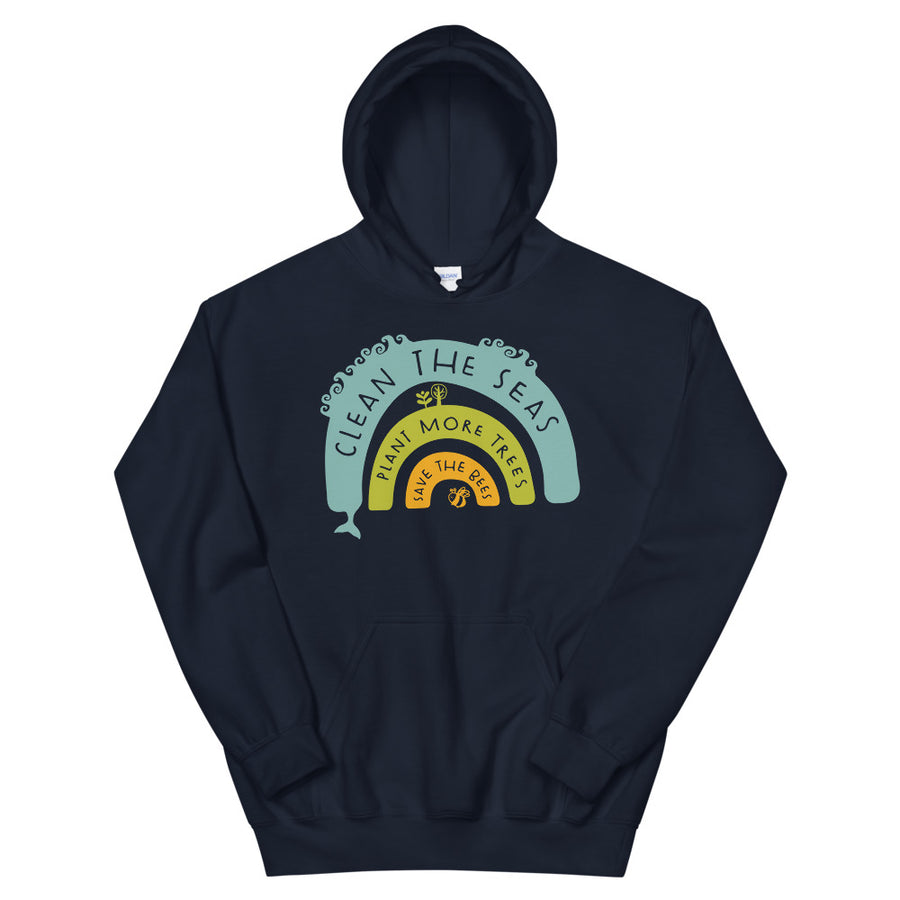 Clean The Seas, Plant More Trees, Save The Bees Teen/Grownup Hoodie