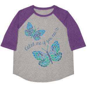 Catch Me If You Can Bugs And Butterflies Youth Baseball Tee