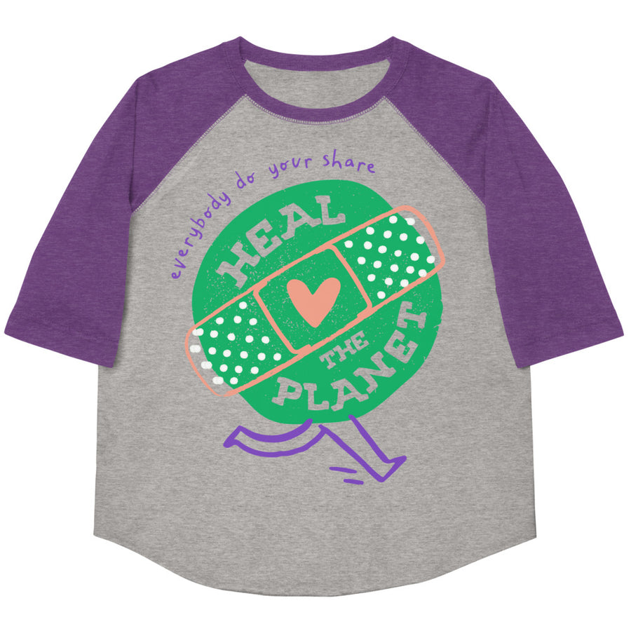 Heal The Planet Youth Baseball Tee