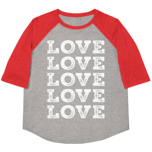 Love Love Love Love Love Youth Baseball Tee