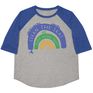 Clean The Seas, Plant More Trees, Save The Bees Youth Baseball Tee