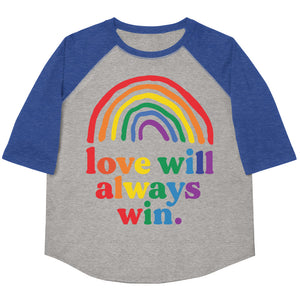 Love Will Always Win Rainbow Pride Flag Youth Baseball Tee