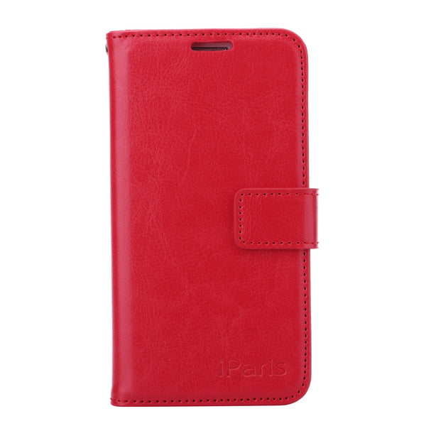 iParis Genuine Red Leather Wallet Stand Cover Flip Case For Samsung Galaxy s6 Edge - iparis