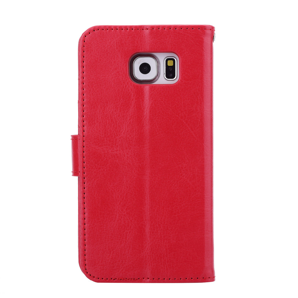 iParis Genuine Red Leather Wallet Stand Cover Flip Case For Samsung Galaxy s6 - iparis