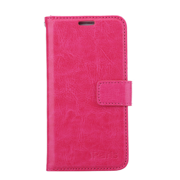 iParis Genuine Hot Pink Leather Wallet Stand Cover Flip Case For Samsung Galaxy s6 Edge - iparis