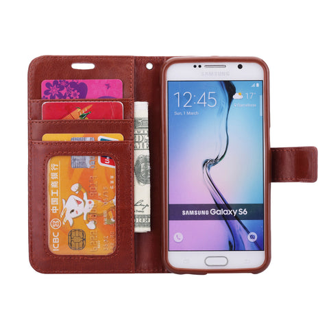iParis Genuine Brown Leather Wallet Stand Cover Flip Case For Samsung Galaxy s6 Edge - iparis