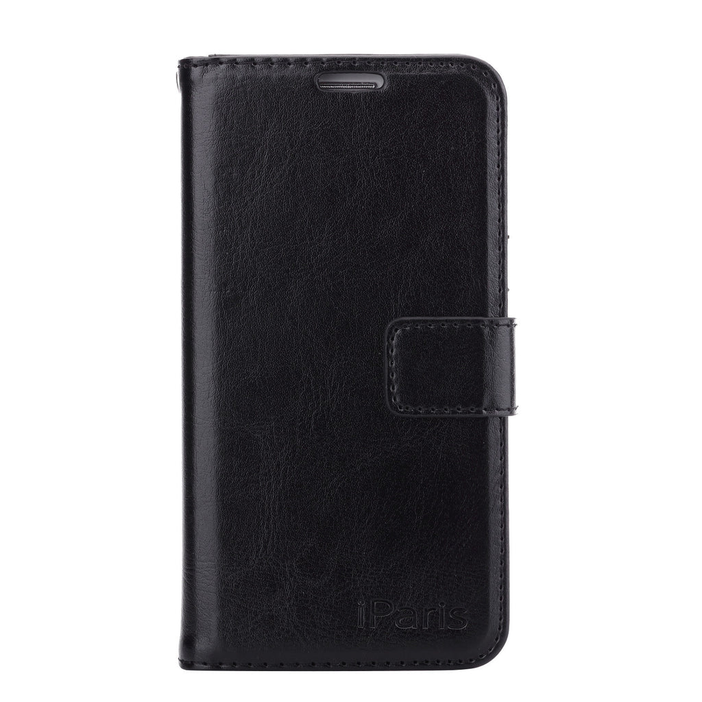 iParis Genuine Black Leather Wallet Stand Cover Flip Case For Samsung Galaxy s6 Edge - iparis