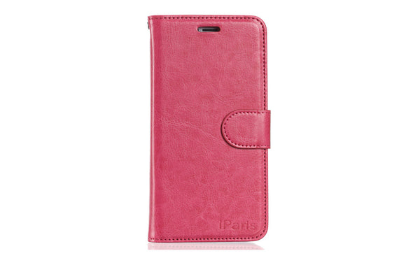 iParis European Hot Pink Leather Fashion Wallet Flip Cover Case for iPhone5 - iparis