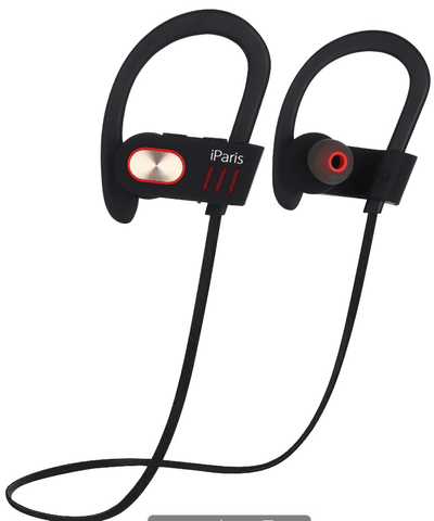 iParis Black Bluetooth Headphones, Sports Earphones  w/Mic Waterproof HD Stereo for Android - iparis