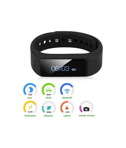 iParis Mens i8 Android Black Smart Bracelet Fitness Tracker - iparis