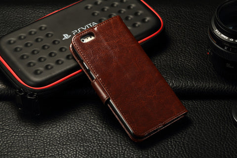 iParis European Brown Leather Fashion Wallet Flip Cover Case for iPhone5 - iparis