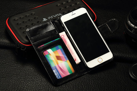 iParis European Black Leather Fashion Wallet Flip Cover Case for iPhone 6s - iparis