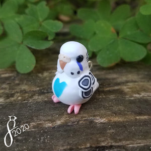 Pied Blue Budgie Heart Charm