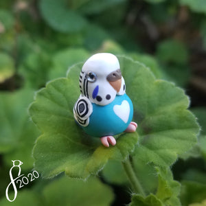 Blue Pied Budgie Heart Charm