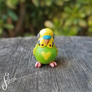 Green Pied Budgie Heart Charm