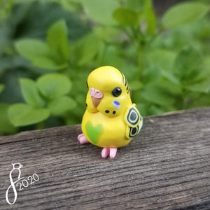 Yellow Pied Budgie Heart Charm