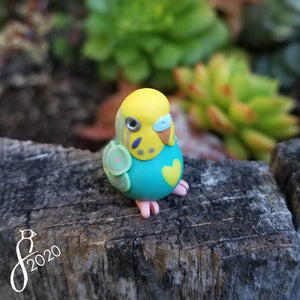 Yellowfaced Teal Budgie Heart Charm