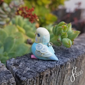 Pastel Blue Budgie Heart Charm