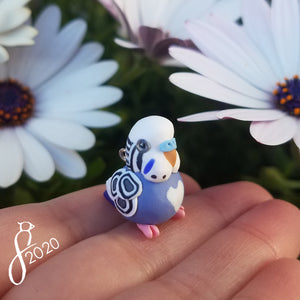 Violet Budgie Heart Charm