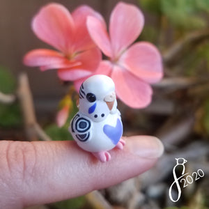 Pied Violet Budgie Heart Charm