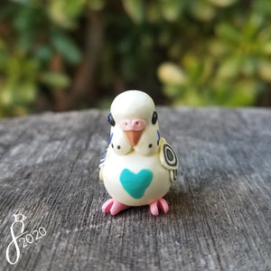 Pastel Yellow Teal Budgie Heart Charm