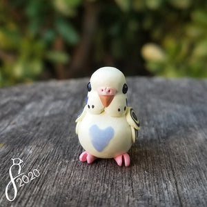 Pastel Yellow Violet Budgie Heart Charm