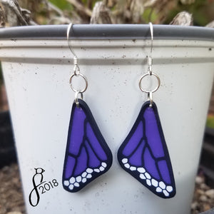 Violet Butterfly Wing Earrings