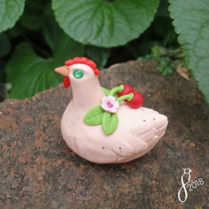 Cherry Hen Figurine