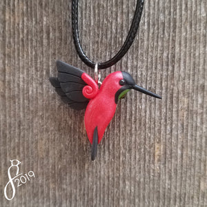 Crimson Topaz Hummingbird Necklace