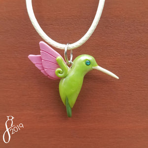 Fairy Pink and Green Hummingbird Necklace