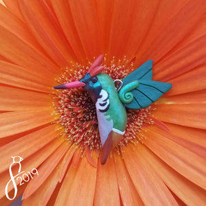 Frilled Coquette Hummingbird Necklace