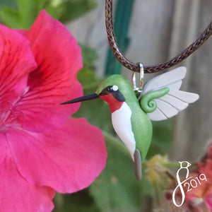 Ruby-Throated Hummingbird Necklace