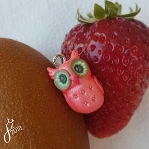 Strawberry Kiwi Owl Pendant