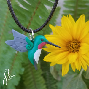Teal Ruby-Throated Hummingbird Necklace