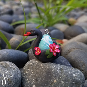 Water Lily Swan Charm