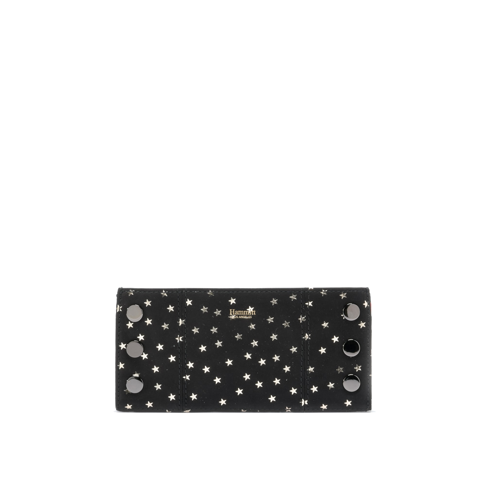 Black Heli with Silver Metallic Stars 110 North Wallet