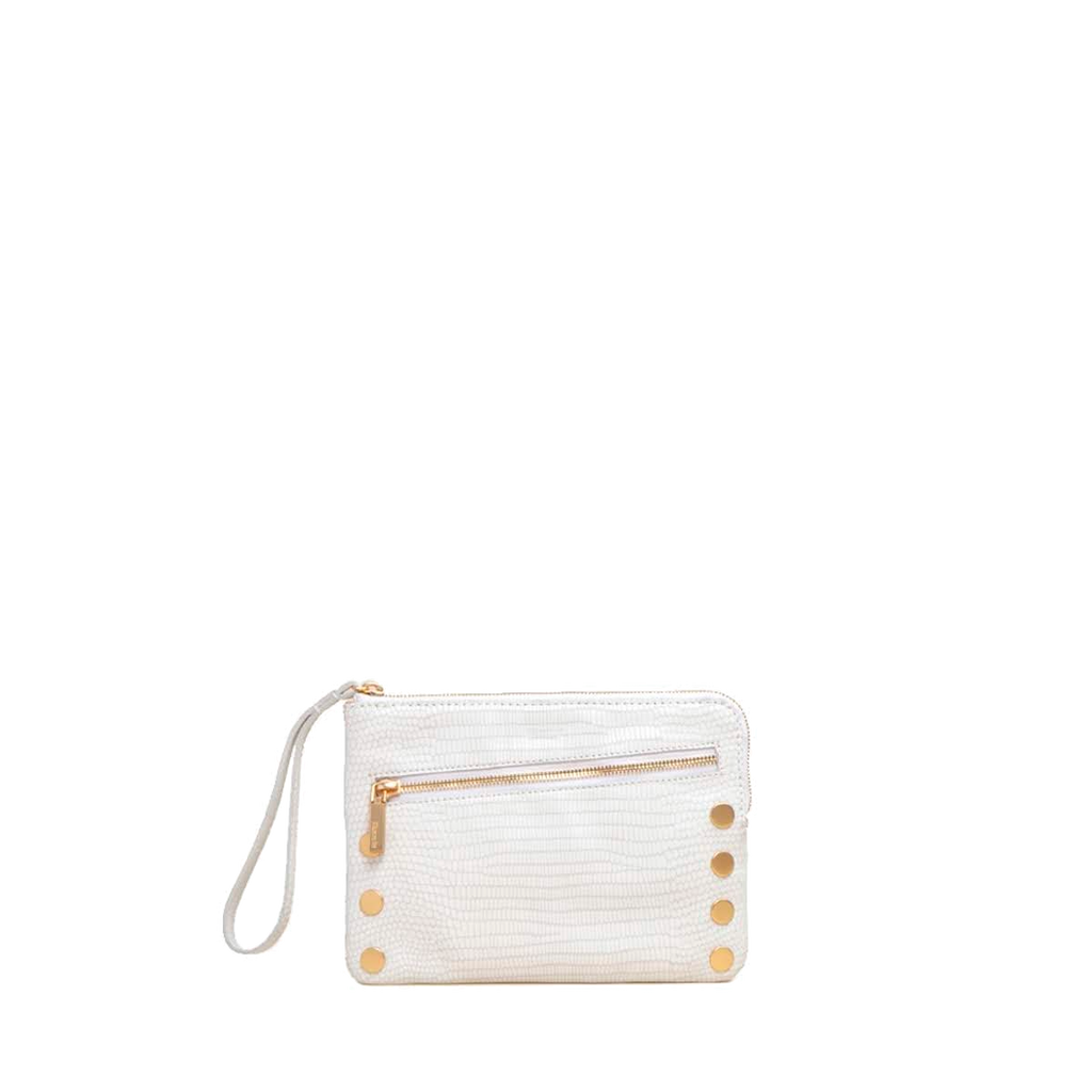White and Gold Nash 2 Crossbody Clutch