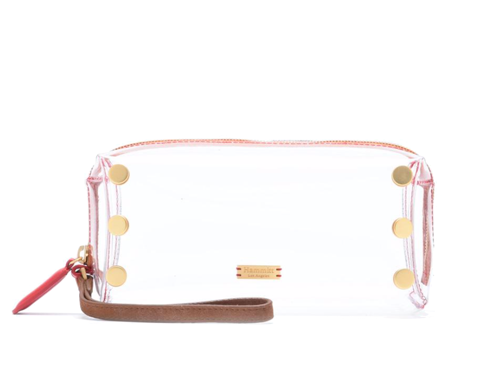 Clear Makeup Bag with Brushed Gold Detail