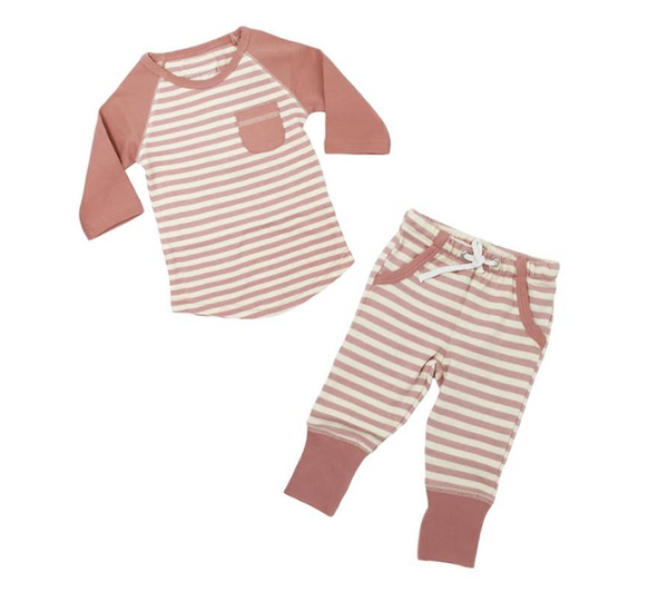 L'ovedbaby Raglan T-Shirt and Jogger Pant Set - Mauve/Beige - Barna & Co - Seattle, Washington