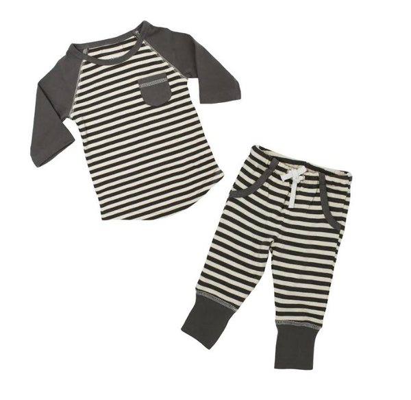 L'ovedbaby Raglan T-Shirt and Jogger Pant Set - Gray/Beige - Barna & Co - Seattle, Washington