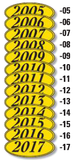 YEAR STICKERS OVAL- BLACK on YELLOW (12) #582-17SI - Sisupplies.com