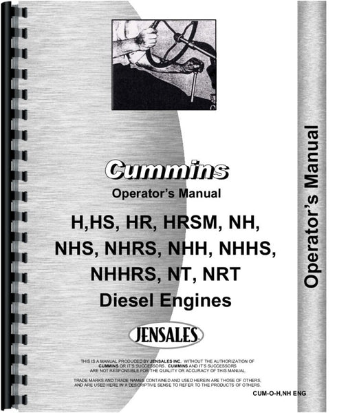 Operators Manual for Cummins NHH Engine