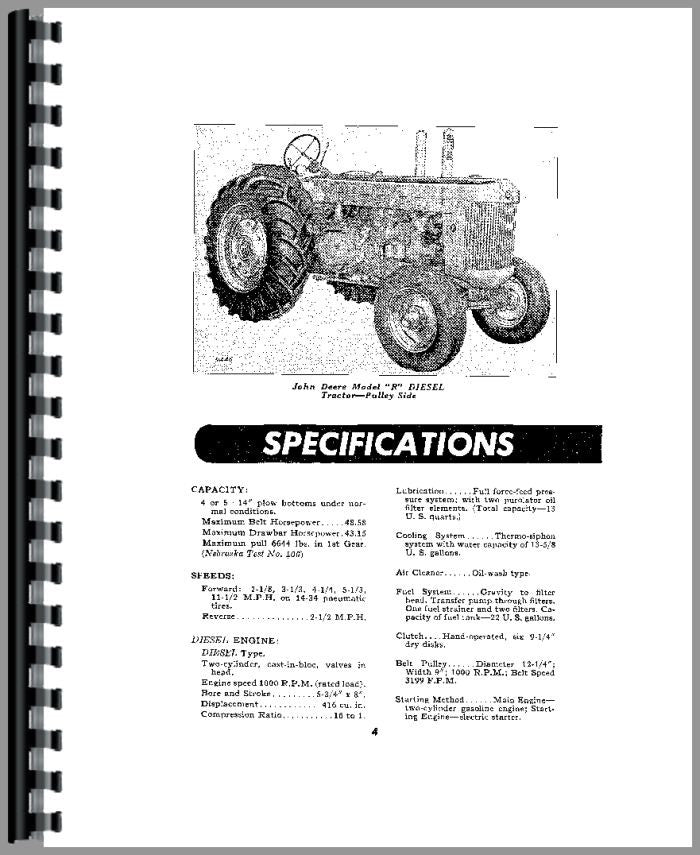 Operators Manual for John Deere R Tractor